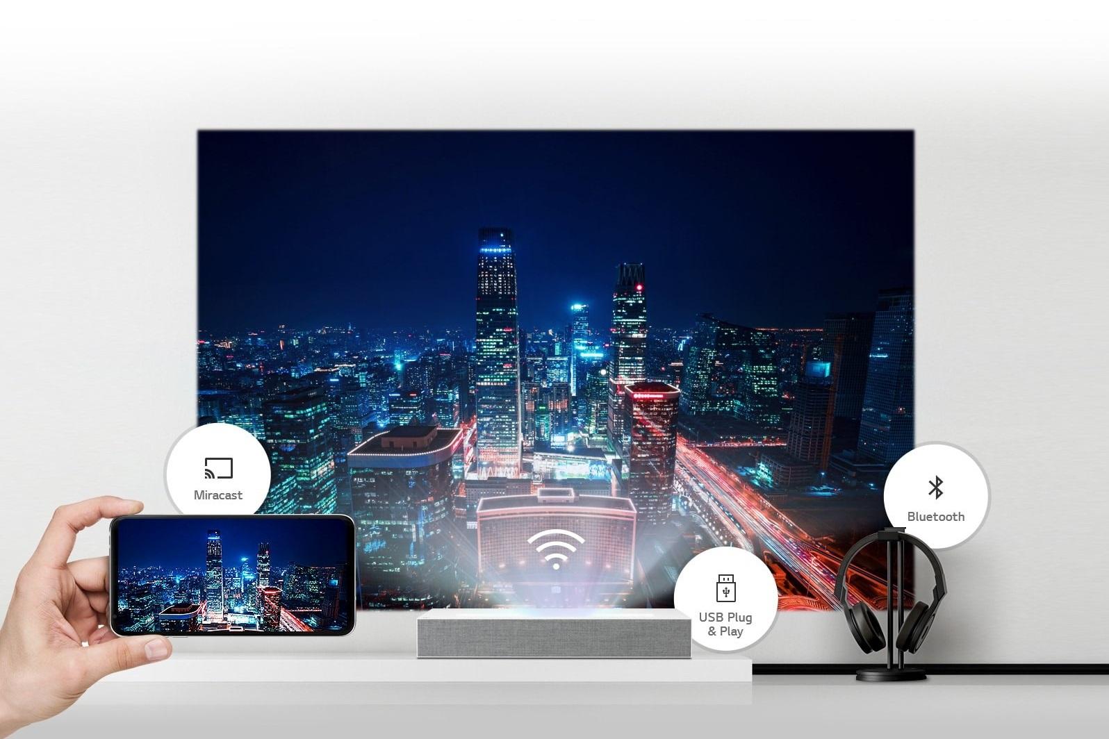 Máy chiếu HU85LG có đa dạng kết nối không dây