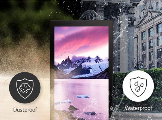 Thiết kế của màn hình biển báo ngoài trời 75XE3C đạt chuẩn chống nước và chống bụi IP56